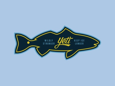 Yeti Coolers outdoors fly fishing illustration script lettering apparel redfish yeti coolers yeti
