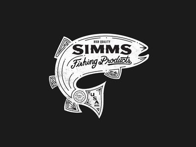 Simms Fishing Products lettering outdoor fish fishing type illustration apparel design apparel logo trout fly fishing simms