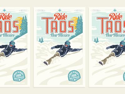 Taos Ski Valley illustration poster snow skiing snowboarding taos