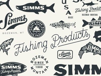 Simms Fishing Products typography lettering apparel patch badge tarpon trout fly fishing simms fishing