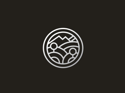 Topo + Type Hike Concept patch design logo mark thick lines monoline icon patch