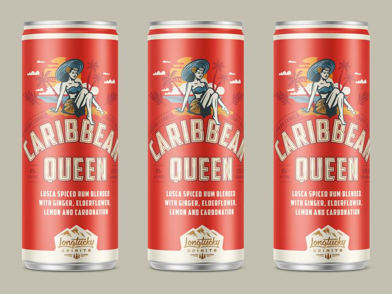 Caribbean Queen logo kroneberger packaging design can design illustration lettering distillery canned cocktails craft spirits longtucky