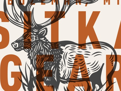 Sitka Gear dribbble invites invites giveaway dribbble typography big game hunting sitka apparel illustration woodcut elk