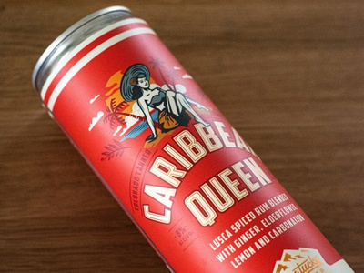 Longtucky Caribbean Queen label design can design packaging illustration typography type vintage retro caribbean canned cocktail distillery