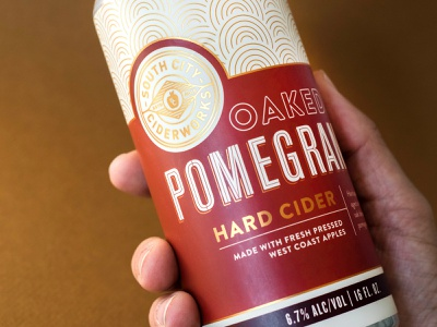 South City Ciderworks pomegranate craft cider bay area san francisco customized type typography hard cider branding label design packaging can design