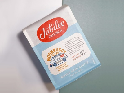 Jubilee Roasting Co. photoshop typography branding lettering vw van vw bus coffee bag coffee shop coffee illustraion print packaging