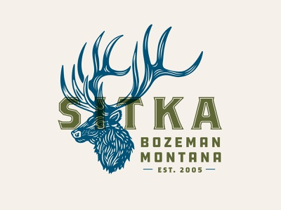 Sitka Gear hunting brand illustration typography apparel print woodcut montana big game elk hunting