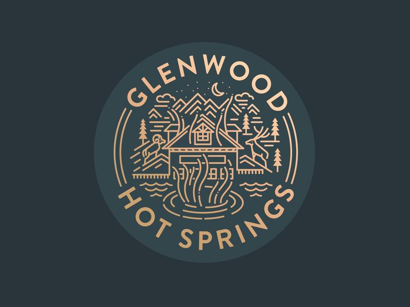 Glenwood Hot Springs illustration mountains colorado glenwood hot springs glenwood springs print apparel badge monoline