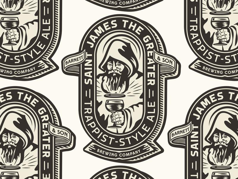 Barnett & Son Brewery trappist beer monk merch design apparel print typography type badge illustration