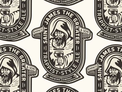 Barnett & Son Brewery trappist beer monk merch design apparel print typography type badge illustration