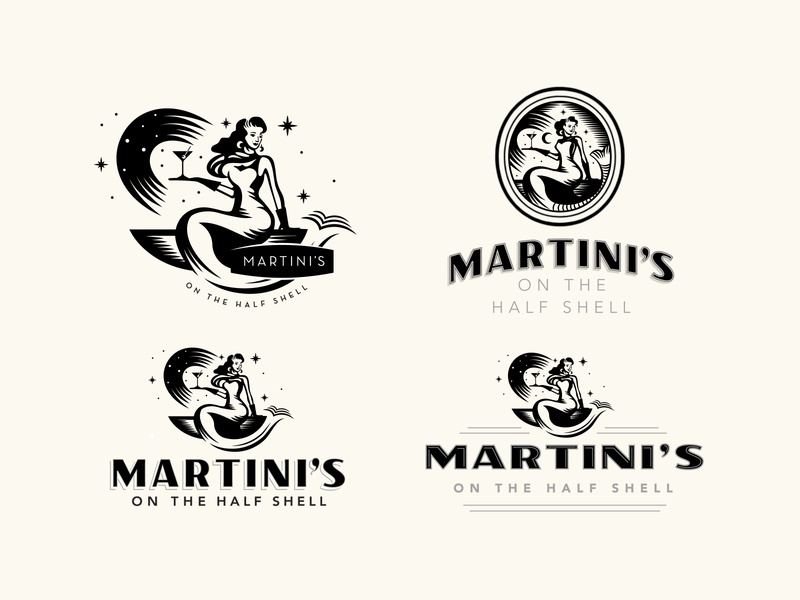 Martini's On the Half Shell oysters mermaid branding concept restaurant logo