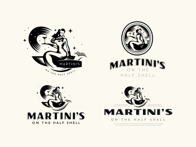 Martini's On the Half Shell oysters mermaid branding concept restaurant logo