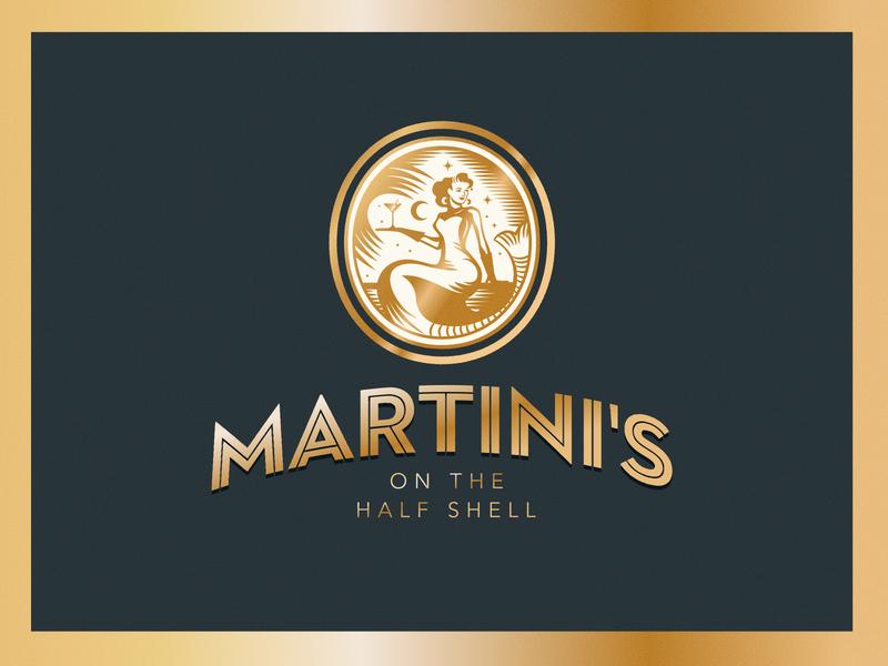 Martini's On the Half Shell mermaid illustration logo branding concept logo design restaurant logo restaurant branding branding