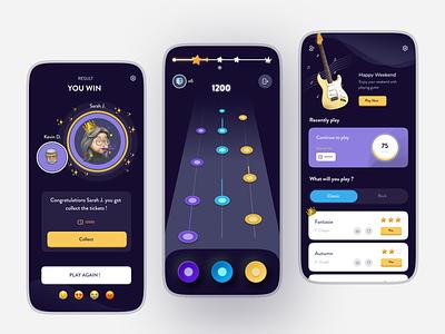 Guitar Hero App 🎸 mobile app mobile ui design winning winner games game guitar game guitar game design homepage