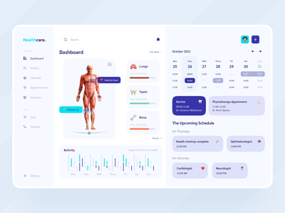 Dashboard Diagnosis 📈 activity tracker activity doctor date health care healthy schedule dashboard health dashboard design medical dashboard ui health dashboard