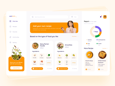 Food Dashboard Concept 🌮 diet app diet recipe food dashboard recipe recipe app recipe delivery food dashboard food food and drink food app foodie food website design website web design web dashboard app dashboard design dashboard ui