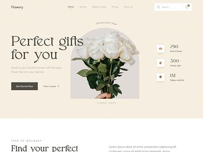 Flowery 🌹- Florist Landing page flowers florist website minimal ui homepage elegant website design website header flower florist landingpage