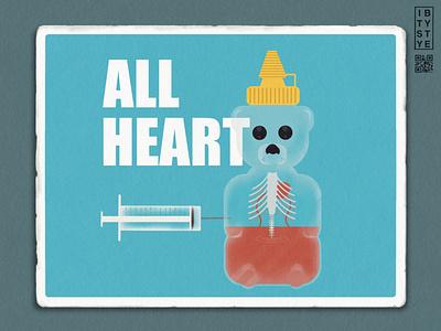 All Heart bear honey weekly warmup adobeillustator textured illustration