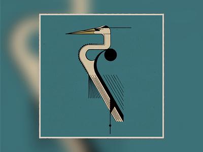 Bird Sketch - Harper Study textured midcentury procreate ipadproart illustration charley harper