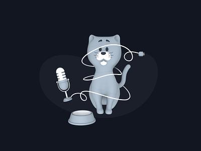 Tangled cat design character cat branding illustration 3d