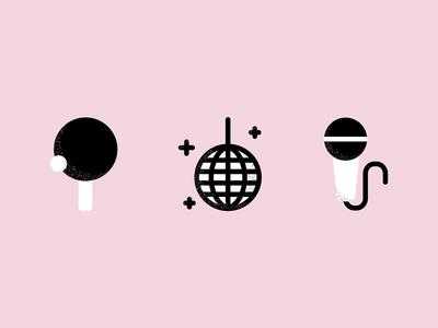 Play vector shapes fun karaoke microphone dance discoball ball pingpong icons play