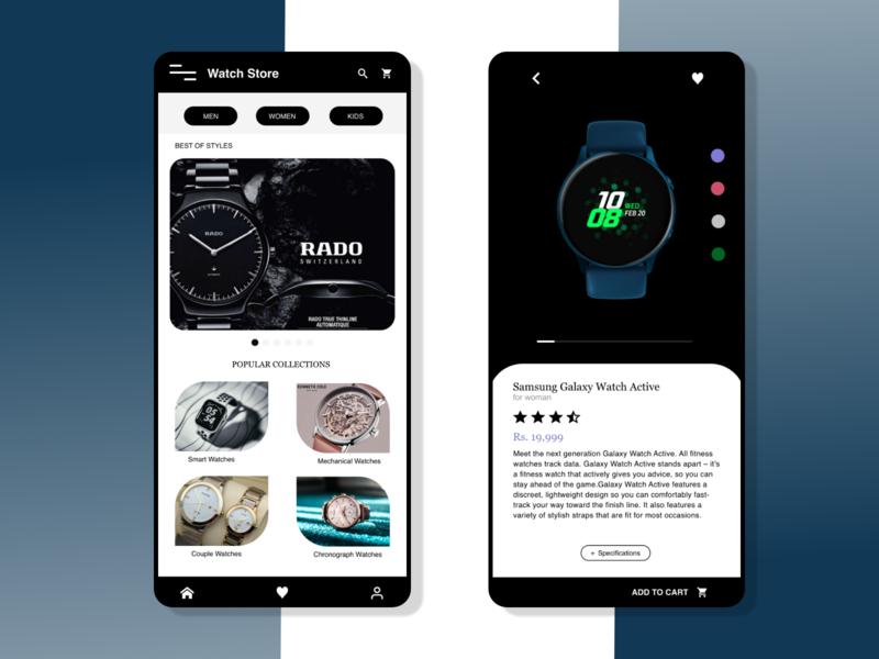 Watch Store samsung galaxy blackandwhite watches android app design branding iphone app ui adobe xd adobe photoshop india design app