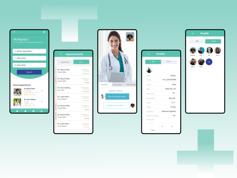 HealthCare Booking Application dentist heart india doctor app health appointment booking appointments branding android app design android app flat ui design adobe xd health care healthcare
