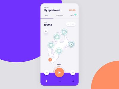 Vappuum spot schedule map fiolet orange vector vacummer ux ui typography mobile app mobile application