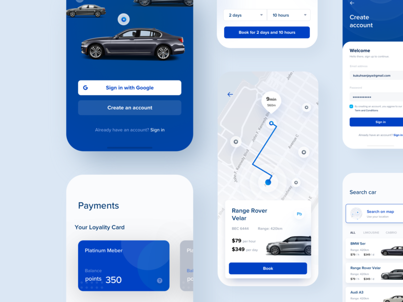 Car-sharing app booking application mobile app mobile design blue cars mobile typography ux ui design