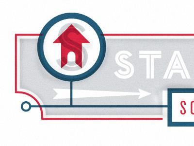 STA logo identity branding blue red grey house