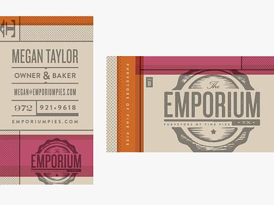 Emporium Pies : Biz Card identity branding logo pies food texas stationery business card