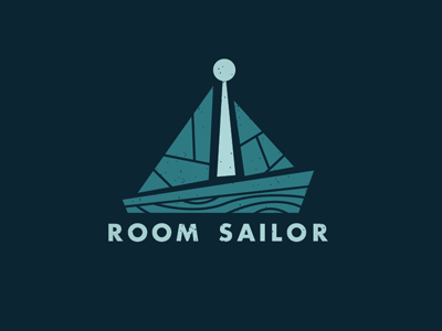 Room Sailor : Updated logo brand identity blue boat keyhole