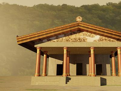 tempio etrusco render ancient digital art graphic design architecture archaeology mockup rendered rendering illustration design blender render temple etruscan