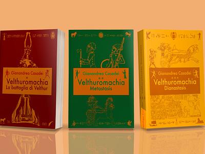 Velthuromachia Book Set Mockup trilogy book cover book vector logo design illustration typography mockup logo layout design