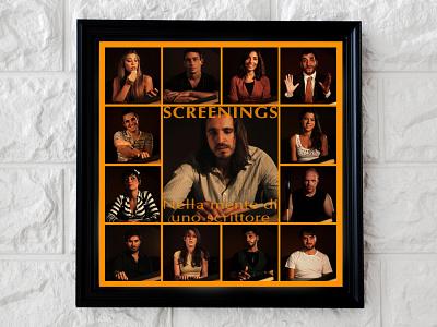 Screenings mockup poster design films poster film poster film logo minimal branding layout design
