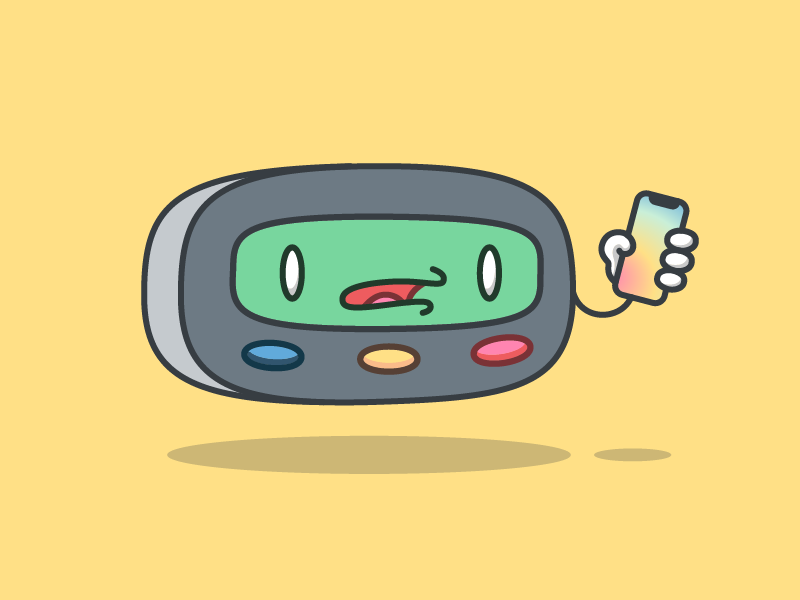 Modern Pager lcd ios confusion buttons technology vector design vintage character illustration pager apple iphone iphone x