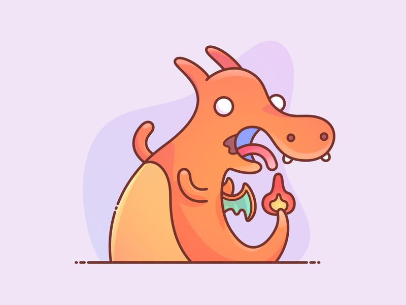 Reckless Charizard drawing affinity designer fire dragon pocketmonsters puppy pet kanto charizard pokemon slime tongue dribble drool animal design vector character illustration