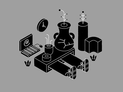 Digital Detox isometric tech technology spot illustration editorial computer furniture plant sneakers detox