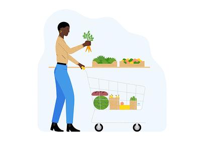 Pharma Dynamics #3 health app vegetable groceries shop health character vector illustration