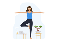Pharma Dynamics #2 female character illustration icon bonzai exercise app platform mobile app health yoga exercise
