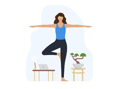 Pharma Dynamics #2 female character illustration icon bonzai exercise app platform mobile app health yoga exercise