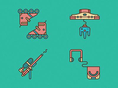 90's Icons icons pictogram 90s retro rollerblades inline skates water pistol sony discman nintendo colorful