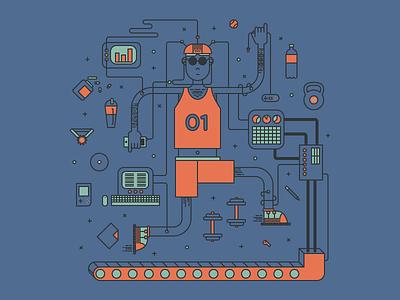 Nerd at the gym computer gym nerd illustration workout silkscreen tech gadgets