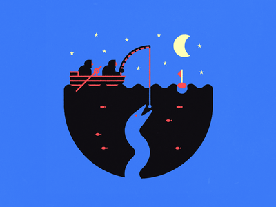 Night fishing monster icon ocean boat water fish snake stars moon fishing