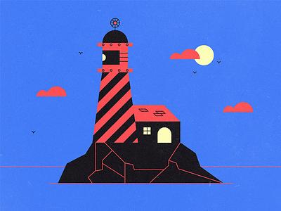 Lighthouse minimal vector birds sun clouds sky sea ocean house light lighthouse