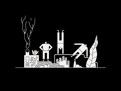 Gathering machine smoke design character vector icon gathering illustration