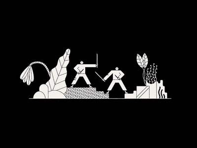 Battle animation vector icon rock plant sword character fight battle