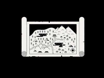 Map lake tree landscape house icon drawing vector map