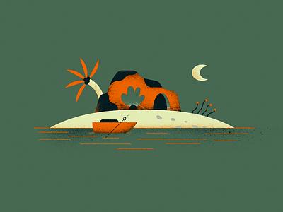 🏝️ ocean tree moon island boat cave