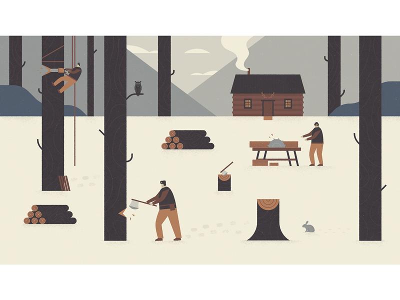 Harvest - 3 lumber wood axe cabin snow landscape scene character harvest